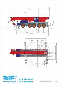 Габариты автокрана LIEBHERR LTM 1130-5.1