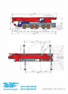 Габариты автокрана LIEBHERR LTM 1160-5.2