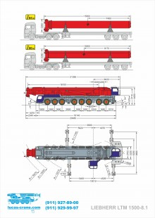 Схема и габариты LIEBHERR LTM 1500-8.1