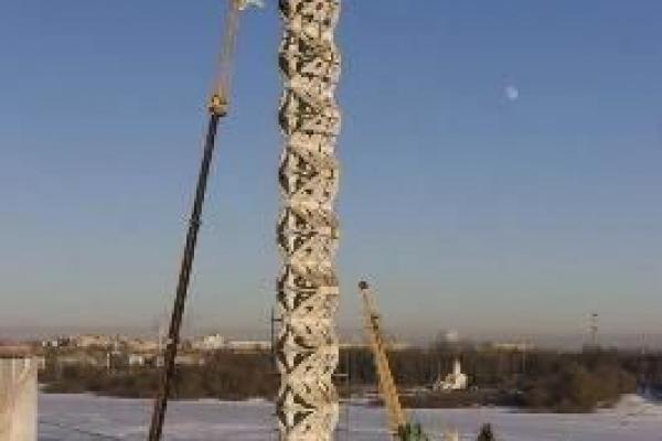 Начало разборки СТЕЛА САМОУБИЙЦ Великий Новгород - Высота 47м Автокран KRUPP - 80 GMT AT
