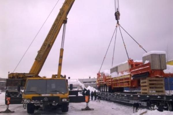 Погрузка на платформу вес груза 38т - Автокран KRUPP KMK-6140